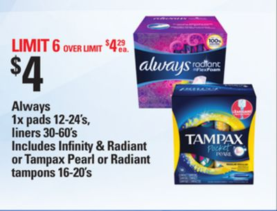 Always - 1x Pads 12-24's - Liners - 30-60's