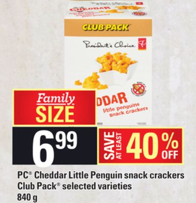 PC Cheddar Little Penguin Snack Crackers - 840 g