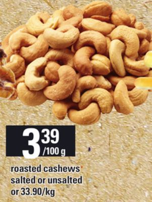 Roasted Cashews Salted or Unsalted