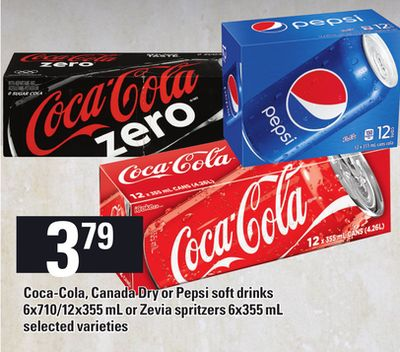 Coca-cola - Canada Dry Or Pepsi Soft Drinks 6x710/12x355 mL or Zevia Spritzers 6x355 mL