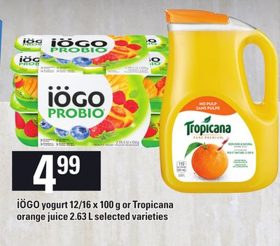 Iögo Yogurt - 12/16 X 100 G Or Tropicana Orange Juice - 2.63 L
