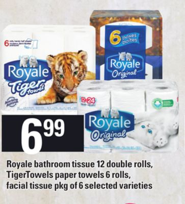 Royale Bathroom Tissue - 12 Double Rolls - Tigertowels Paper Towels - 6 Rolls - Facial Tissue - Pkg Of 6