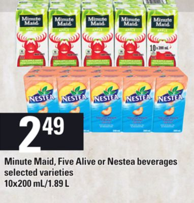 Minute Maid - Five Alive Or Nestea Beverages - 10x200 Ml/1.89 L
