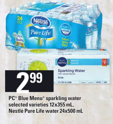 PC Blue Menu Sparkling Water - 12x355 mL - Nestlé Pure Life Water - 24x500 mL