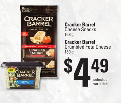 Cracker Barrel Cheese Snacks - 168 g - Cracker Barrel Crumbled Feta Cheese - 180 g