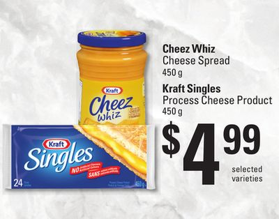 Cheez Whiz Cheese Spread - 450 G Kraft Singles Process Cheese Product - 450 G