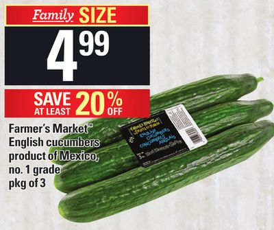 Farmer's Market English Cucumbers - Pkg of 3