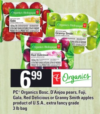 PC Organics Bosc - D'anjou Pears - Fuji - Gala - Red Delicious Or Granny Smith Apples - 3 Lb Bag