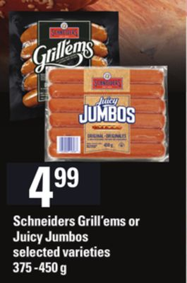 Schneiders Grill'ems Or Juicy Jumbos - 375 -450 g