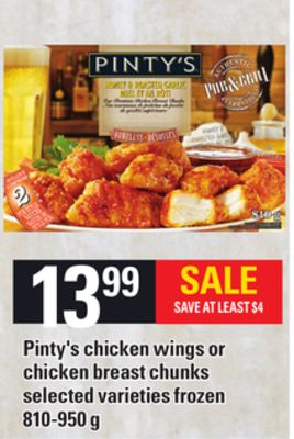 Pinty's Chicken Wings Or Chicken Breast Chunks - 810-950 g