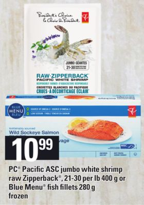 PC Pacific Asc Jumbo White Shrimp Raw Zipperback - 21-30 Per Lb 400 g Or Blue Menu Fish Fillets - 280 g