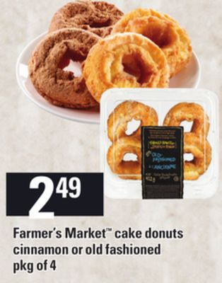 Farmer's Market Cake Donuts Cinnamon Or Old Fashioned - Pkg of 4