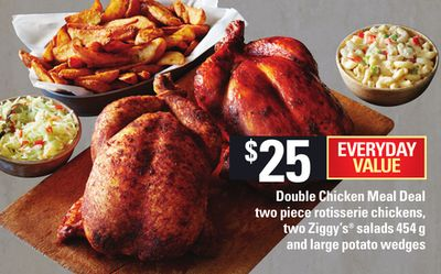 Double Chicken Meal Deal Two Piece Rotisserie Chickens - Two Ziggy's Salads - 454 G And Large Potato Wedges