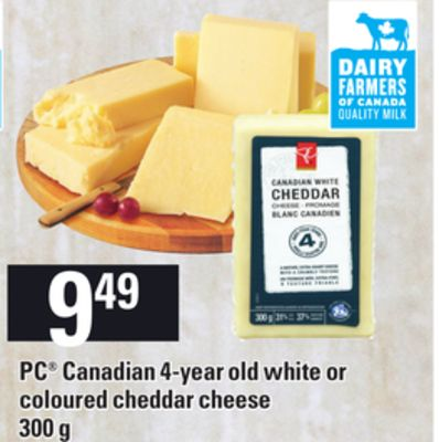 PC Canadian 4-year Old White Or Coloured Cheddar Cheese - 300 g