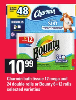 Charmin Bath Tissue - 12 Mega and 24 Double Rolls or Bounty 6=12 Rolls
