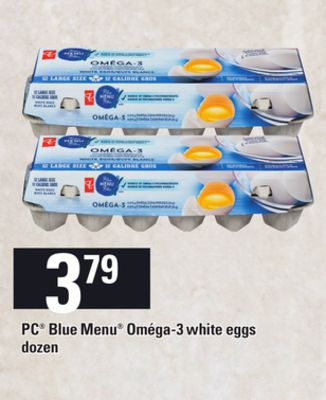 PC Blue Menu Oméga-3 White Eggs - Dozen