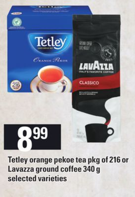 Tetley Orange Pekoe Tea - Pkg of 216 Or Lavazza Ground Coffee - 340 g