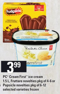 PC Cream First Ice Cream - 1.5 L - Fruttare Novelties - Pkg of 4-6 Or Popsicle Novelties - Pkg of 6-12