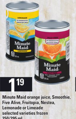 Minute Maid Orange Juice - Smoothie - Five Alive - Fruitopia - Nestea - Lemonade Or Limeade - 250/295 mL