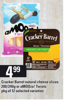 Cracker Barrel Natural Cheese Slices - 200/240g Or Amooza! Twists - Pkg of 12