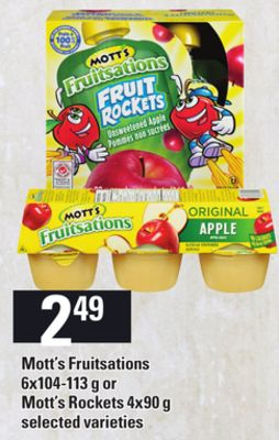 Mott's Fruitsations - 6x104-113 g or Mott's Rockets - 4x90 g