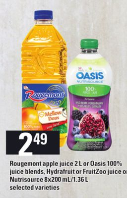 Rougemont Apple Juice - 2 L Or Oasis 100% Juice Blends - Hydrafruit Or Fruitzoo Juice Or Nutrisource - 8x200 Ml/1.36 L