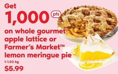 Whole Gourmet Apple Lattice Or Farmer's Market Lemon Meringue Pie - 1-1.02 Kg