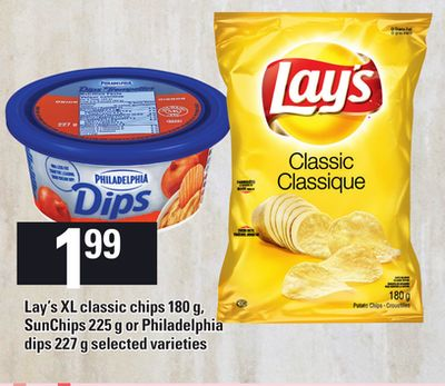 Lay's Xl Classic Chips - 180 g - Sunchips - 225 g or Philadelphia Dips - 227 g