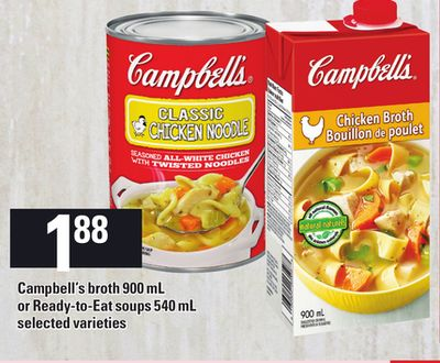 Campbell's Broth 900 mL Or Ready-to-eat Soups 540 mL