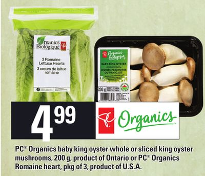 PC Organics Baby King Oyster Whole Or Sliced King Oyster Mushrooms - 200 G Or PC Organics Romaine Heart - Pkg Of 3