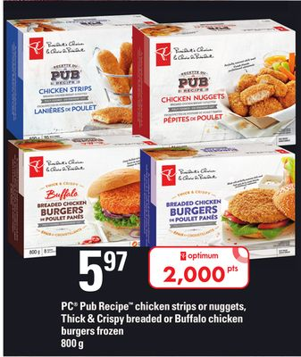 PC Pub Recipe Chicken Strips Or Nuggets - Thick & Crispy Breaded Or Buffalo Chicken Burgers - 800 g