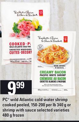PC Wild Atlantic Cold Water Shrimp Cooked Peeled - 150-200 Per Lb - 340 G Or Shrimp With Sauce - 480 g