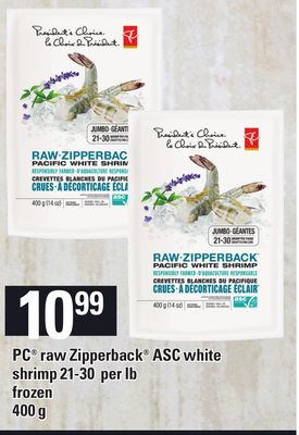PC Raw Zipperback Asc White Shrimp 21-30 Per Lb - 400 g