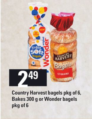 Country Harvest Bagels - Pkg Of 6 - Bakes - 300 G Or Wonder Bagels Pkg Of 6