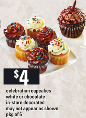 Celebration Cupcakes White Or Chocolate - Pkg of 6