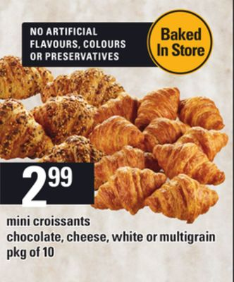 Mini Croissants Chocolate - Cheese - White Or Multigrain - Pkg of 10