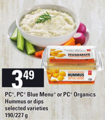 PC - PC Blue Menu Or PC Organics Hummus Or Dips - 190/227 g