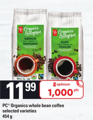 PC Organics Whole Bean Coffee - 454 g