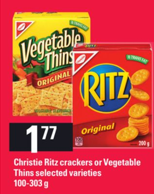 Christie Ritz Crackers Or Vegetable Thins - 100-303g