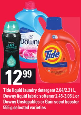 Tide Liquid Laundry Detergent - 2.04/2.21 L - Downy Liquid Fabric Softener - 2.45-3.06 L Or Downy Unstopables Or Gain Scent Booster - 555 G