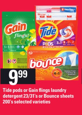 Tide PODS Or Gain Flings Laundry Detergent - 23/31's or Bounce Sheets - 200's