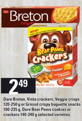 Dare Breton - Vinta Crackers - Veggie Crisps 120-250 G Or Grissol Crispy Baguette Snacks 100-235 G - Dare Bear Paws Cookies Or Crackers 140-240 G