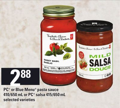 PC Or Blue Menu Pasta Sauce - 410/650 Ml Or PC Salsa - 415/650 Ml