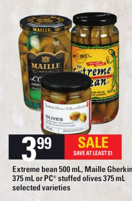 Extreme Bean 500 Ml - Maille Gherkins - 375 Ml Or PC Stuffed Olives - 375 Ml