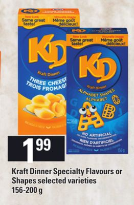 Kraft Dinner Specialty Flavours Or Shapes - 156-200 g