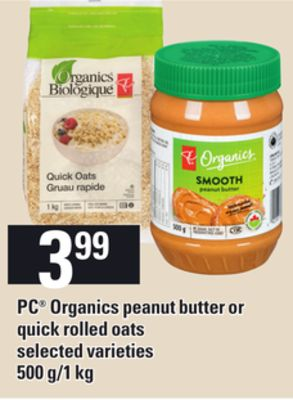 PC Organics Peanut Butter Or Quick Rolled Oats - 500 G/1 Kg