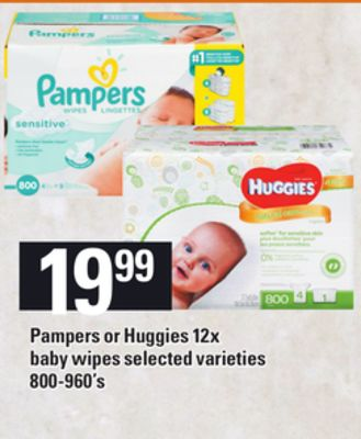 Pampers Or Huggies 12x Baby Wipes - 800-960's
