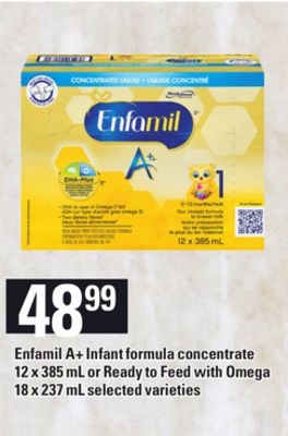 Enfamil A+ Infant Formula Concentrate - 12 X 385 mL or Ready To Feed With Omega - 18 X 237 mL