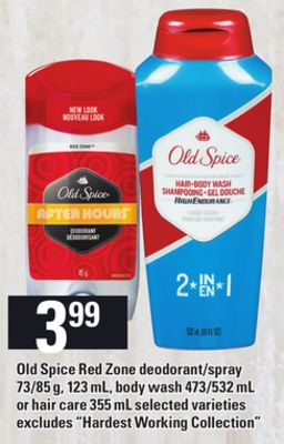 Old Spice Red Zone Deodorant/spray - 73/85 g - 123 mL - Body Wash - 473/532 mL or Hair Care - 355 mL