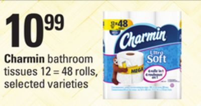 Charmin Bathroom Tissues - 12 = 48 Rolls.